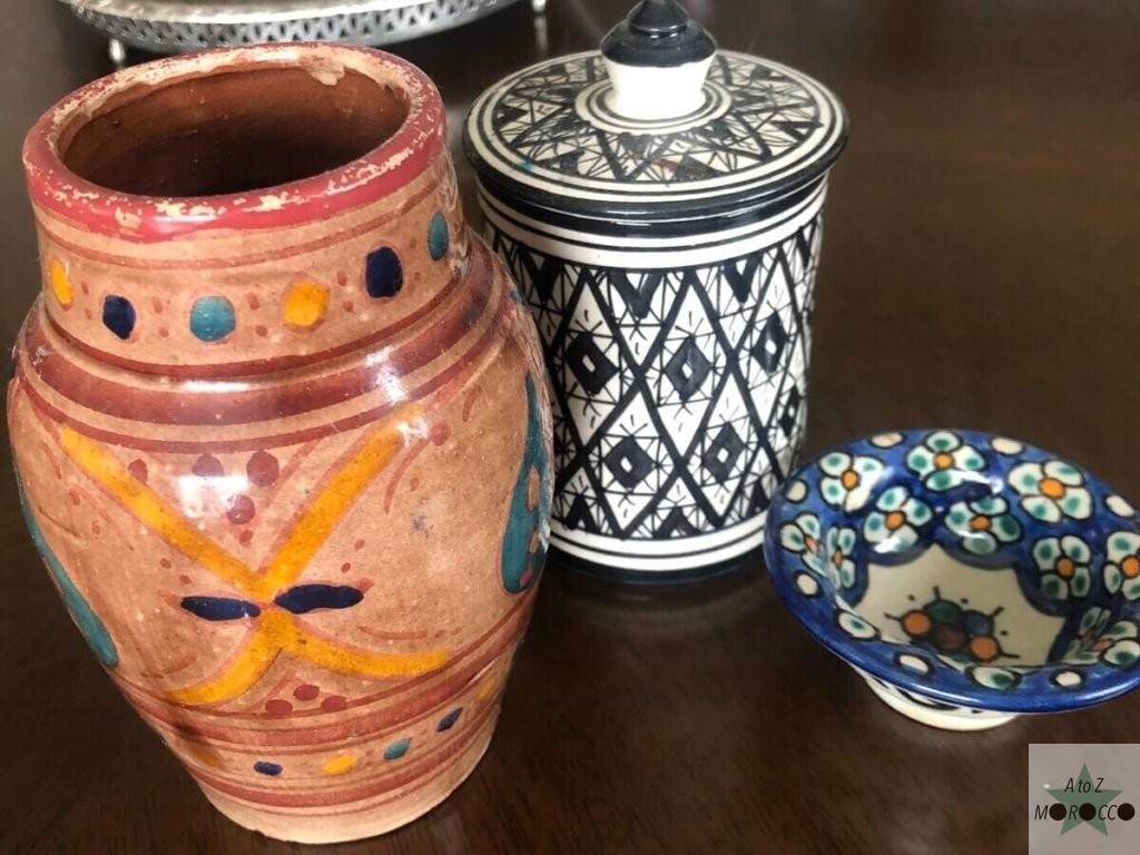 モロッコの陶器3つ